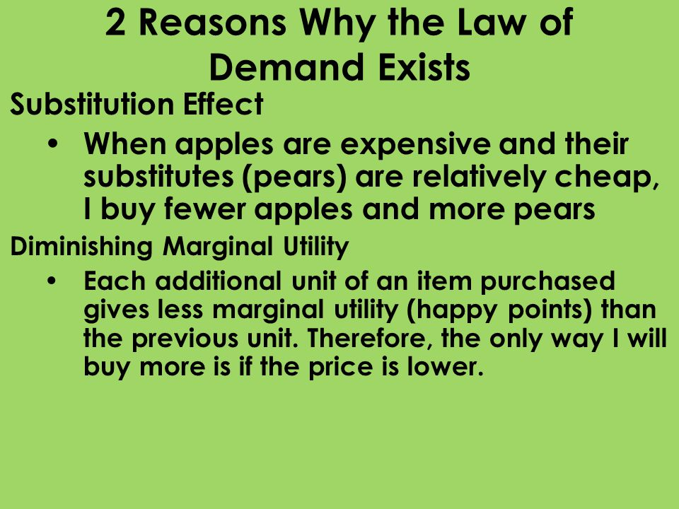 2 Reasons Why the Law of Demand Exists