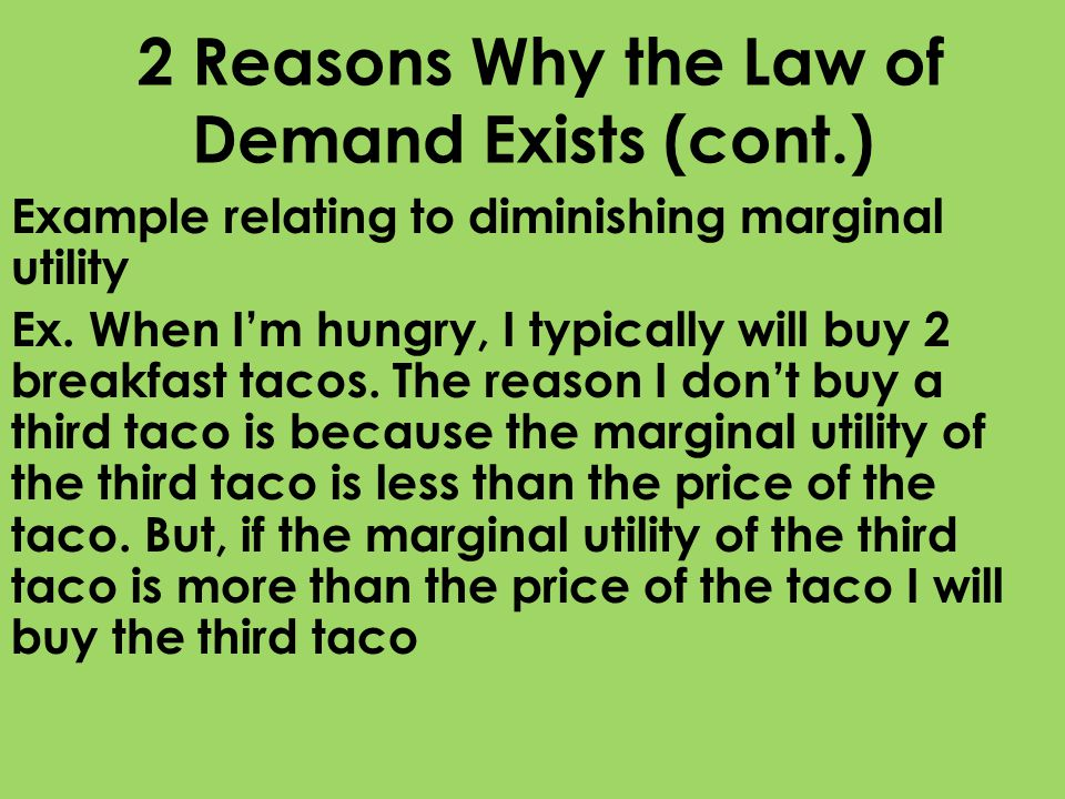 2 Reasons Why the Law of Demand Exists (cont.)
