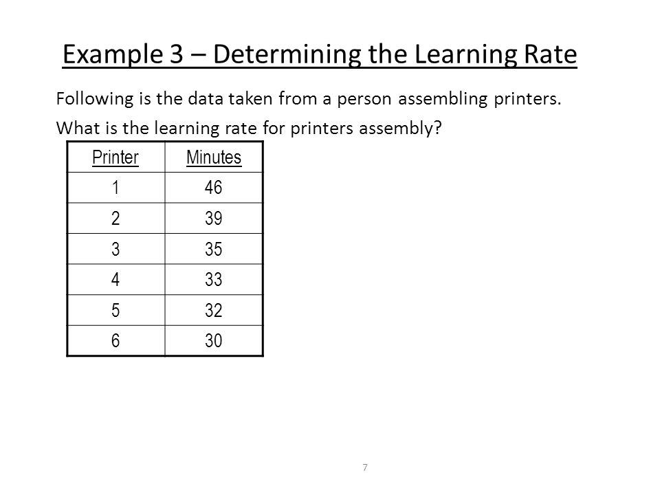 Example 3 – Determining the Learning Rate