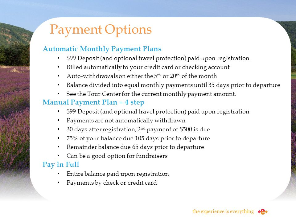 Payment Options Automatic Monthly Payment Plans
