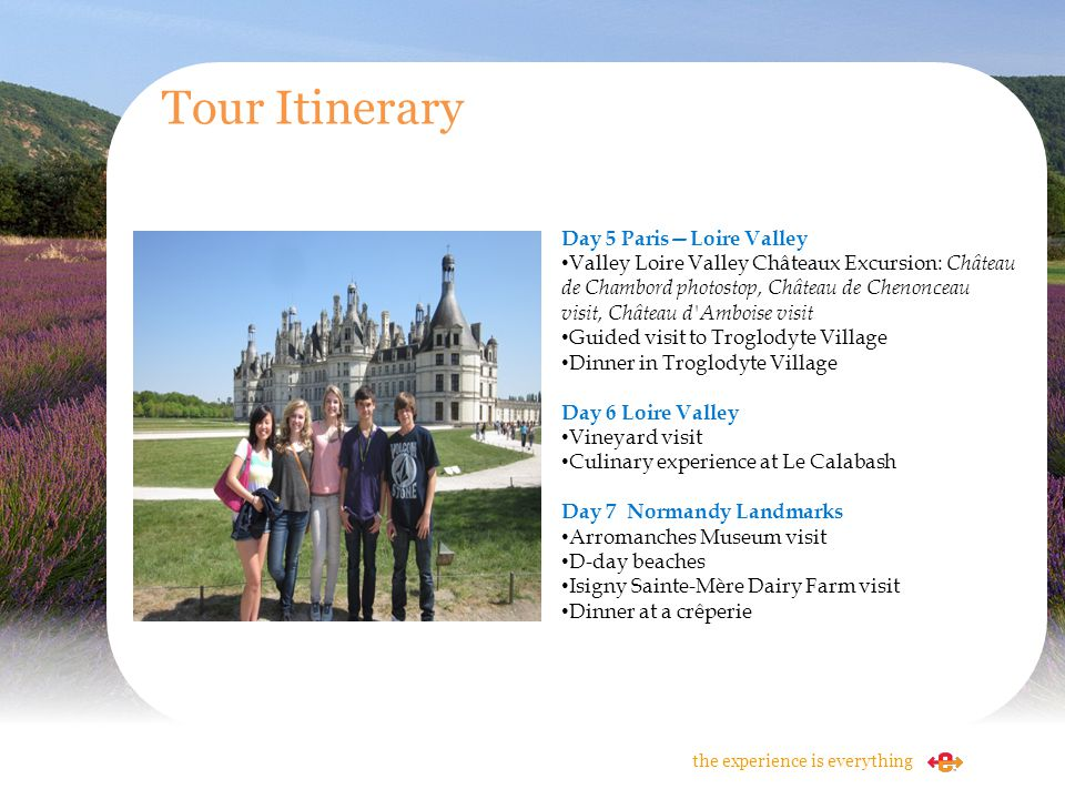 Tour Itinerary Day 5 Paris—Loire Valley