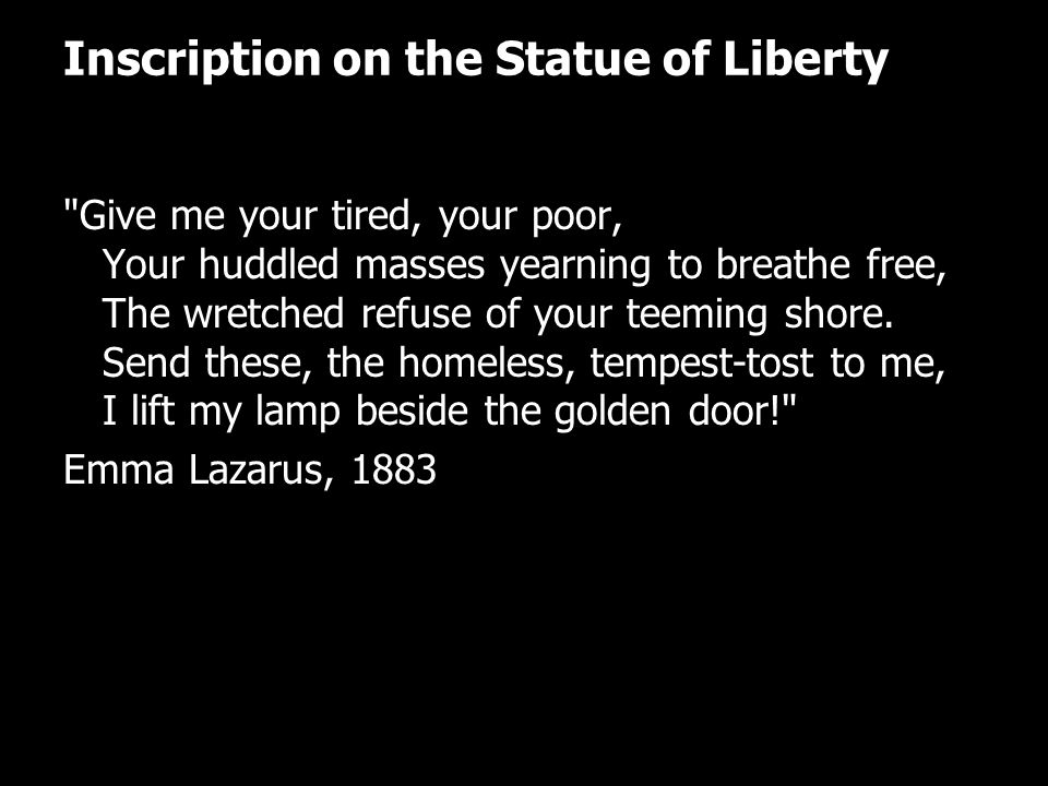 Inscription on the Statue of Liberty