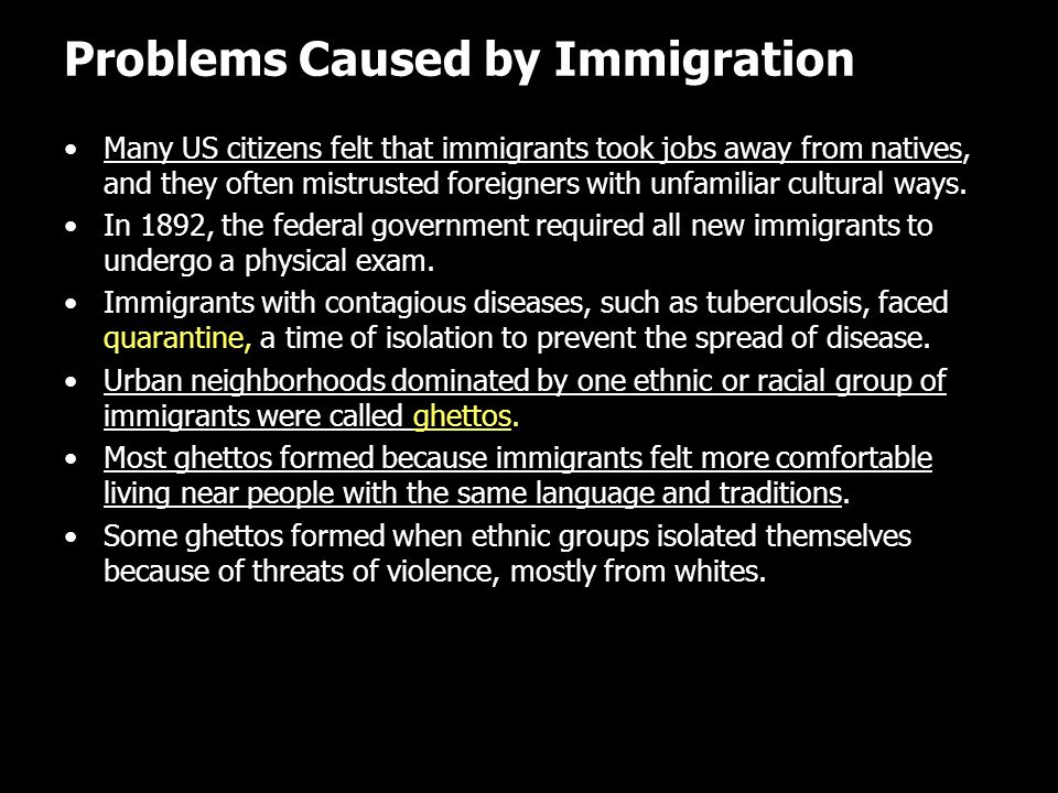 Problems Caused by Immigration