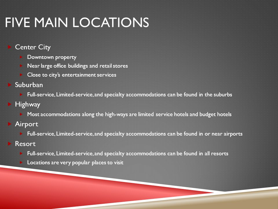 Five Main Locations Center City Suburban Highway Airport Resort