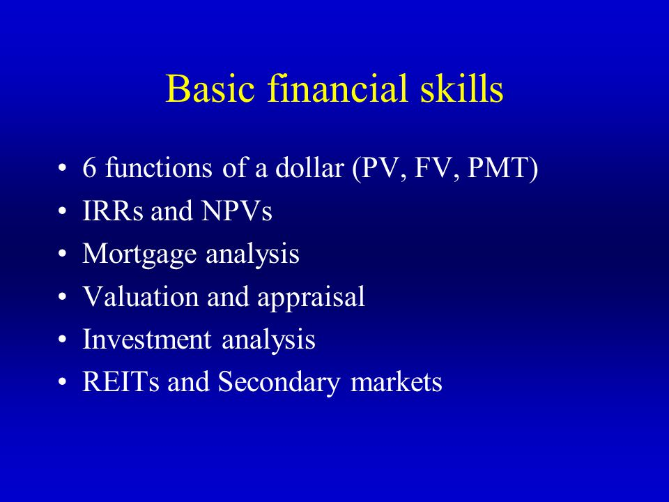 Basic financial skills