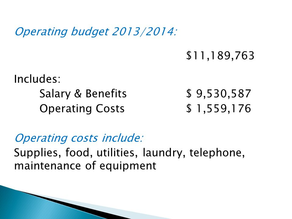 Operating budget 2013/2014: $11,189,763 Includes: Salary & Benefits $ 9,530,587 Operating Costs $ 1,559,176 Operating costs include: Supplies, food, utilities, laundry, telephone, maintenance of equipment
