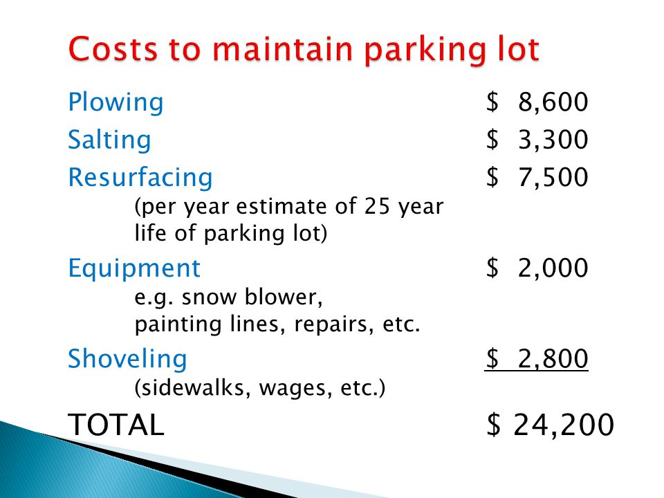 Costs to maintain parking lot