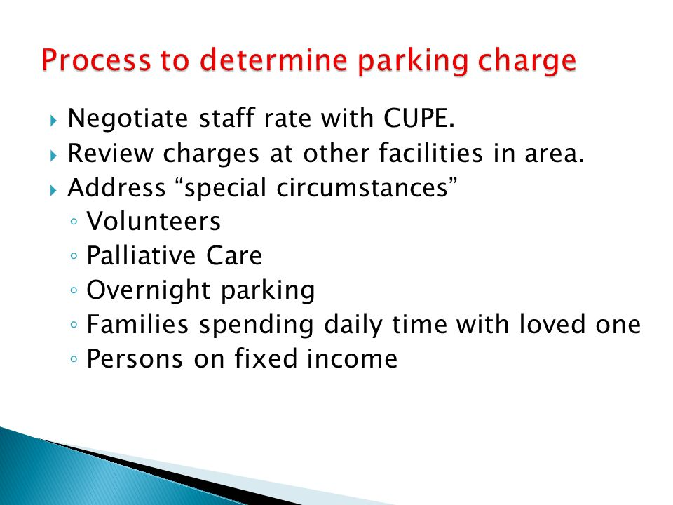 Process to determine parking charge