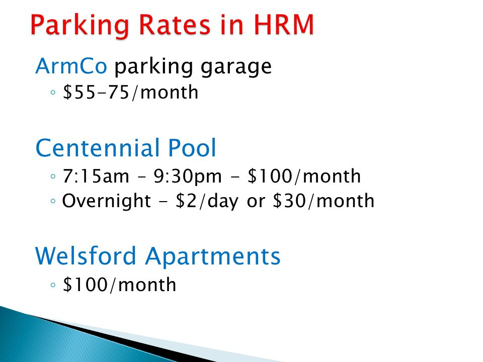 Parking Rates in HRM Centennial Pool Welsford Apartments