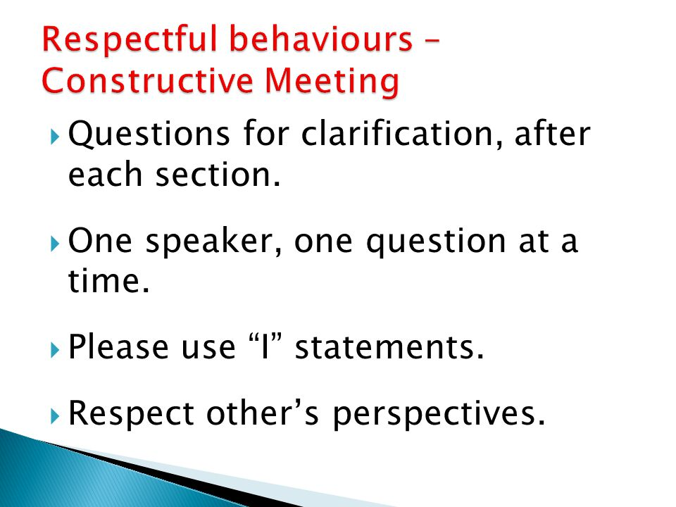 Respectful behaviours – Constructive Meeting
