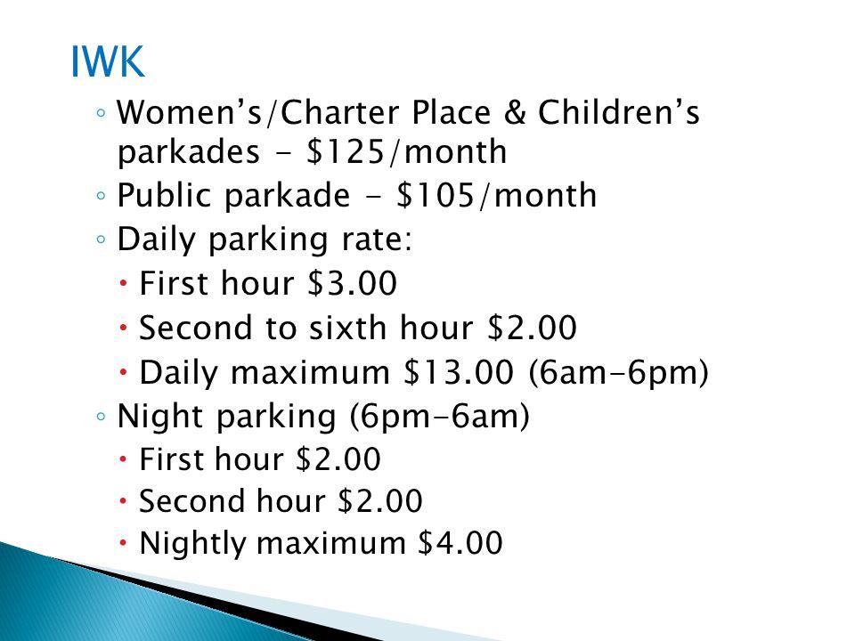 IWK Women's/Charter Place & Children's parkades - $125/month