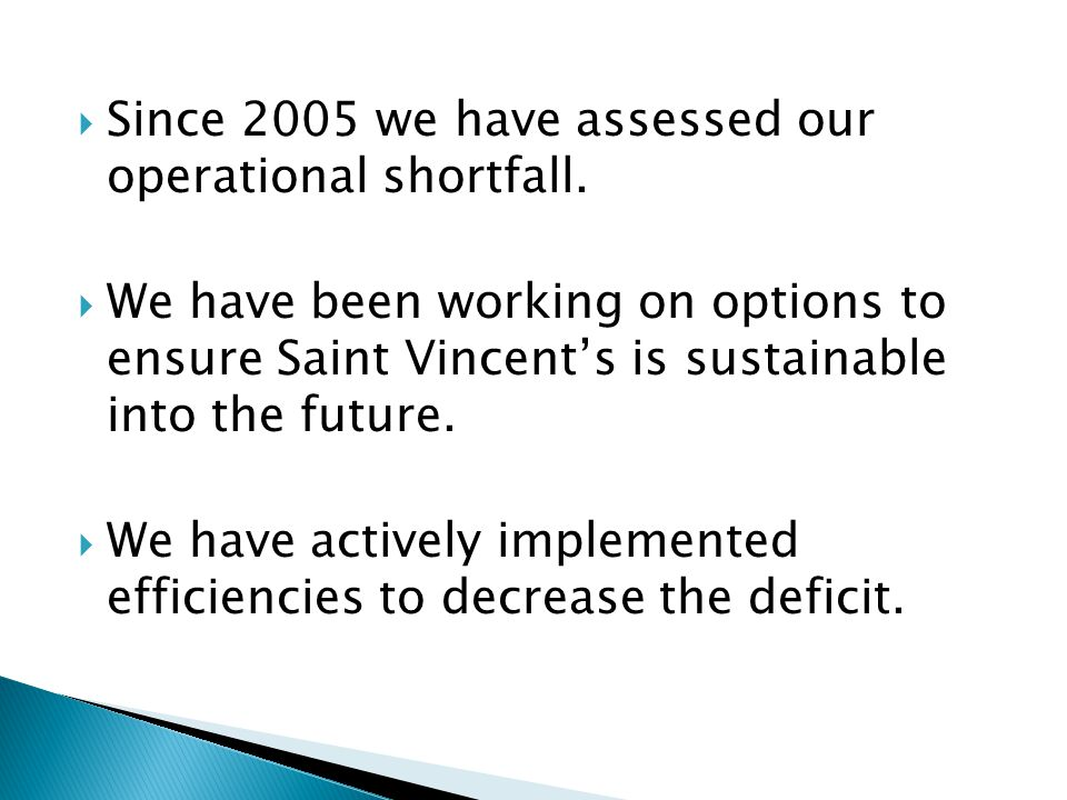 Since 2005 we have assessed our operational shortfall.