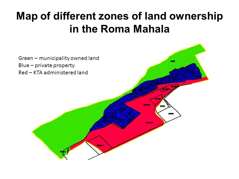 Map of different zones of land ownership in the Roma Mahala