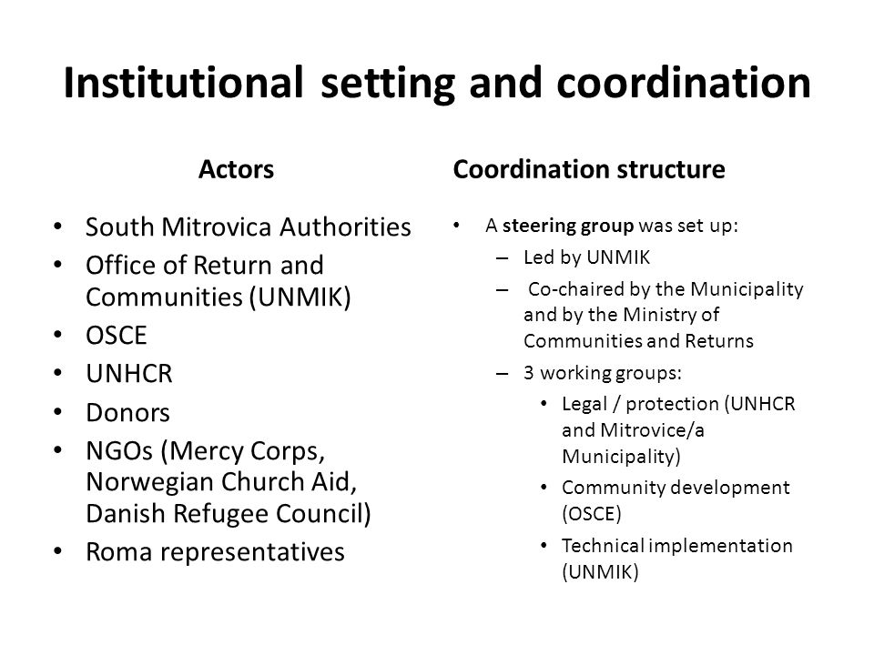 Institutional setting and coordination