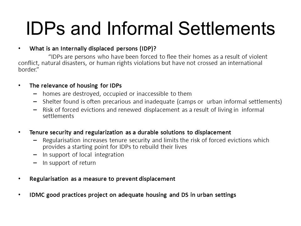 IDPs and Informal Settlements