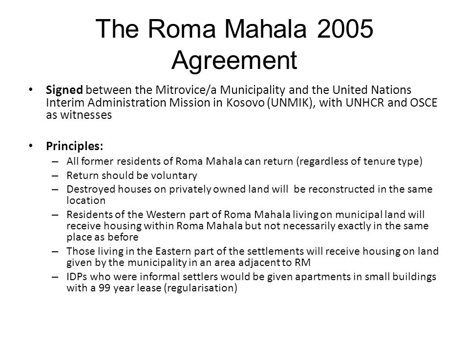 The Roma Mahala 2005 Agreement