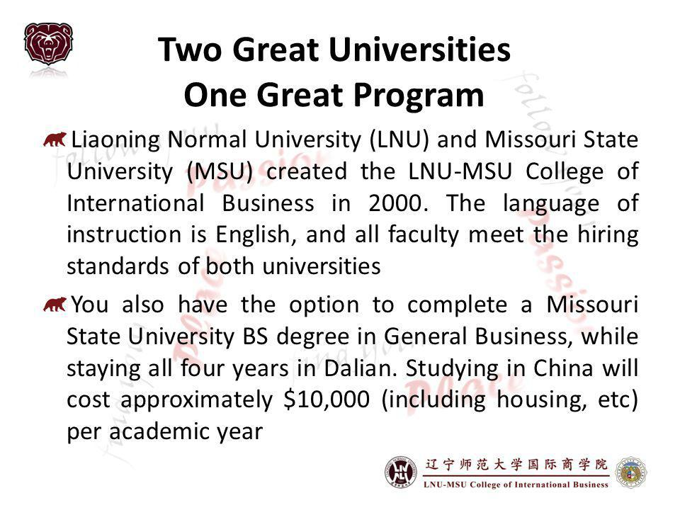 Two Great Universities One Great Program