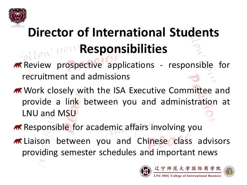 Director of International Students Responsibilities