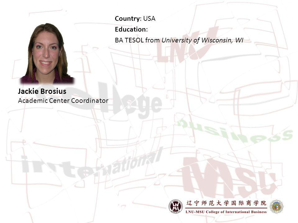 Jackie Brosius Academic Center Coordinator