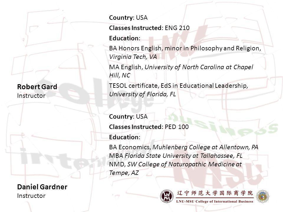 Robert Gard Instructor