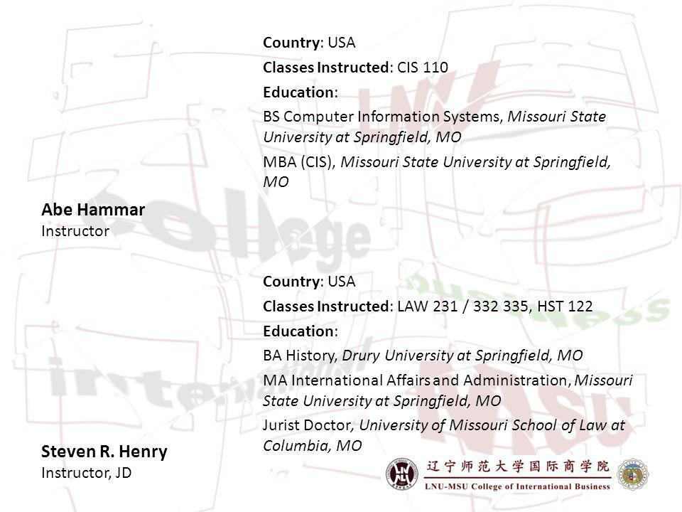 Steven R. Henry Instructor, JD