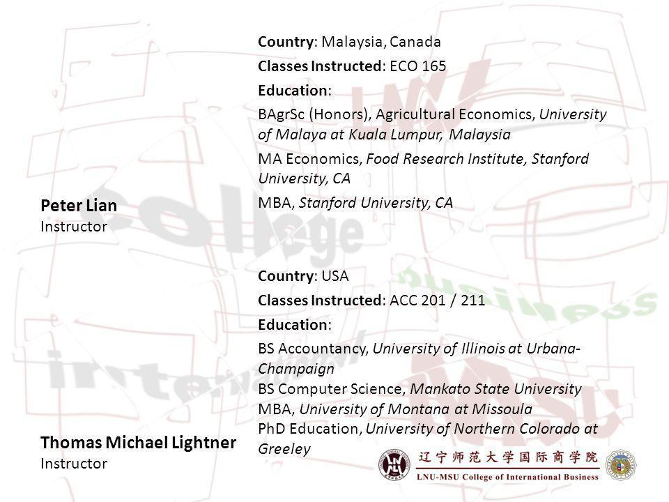 Thomas Michael Lightner Instructor