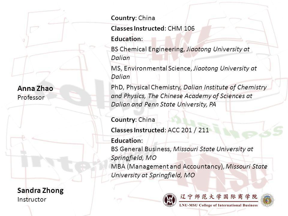 Sandra Zhong Instructor