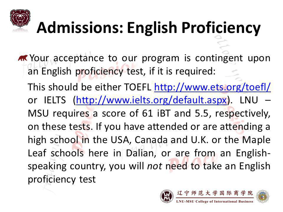 Admissions: English Proficiency
