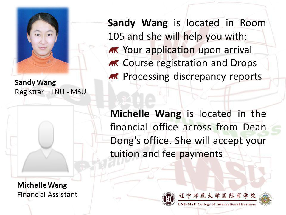 Sandy Wang is located in Room 105 and she will help you with: