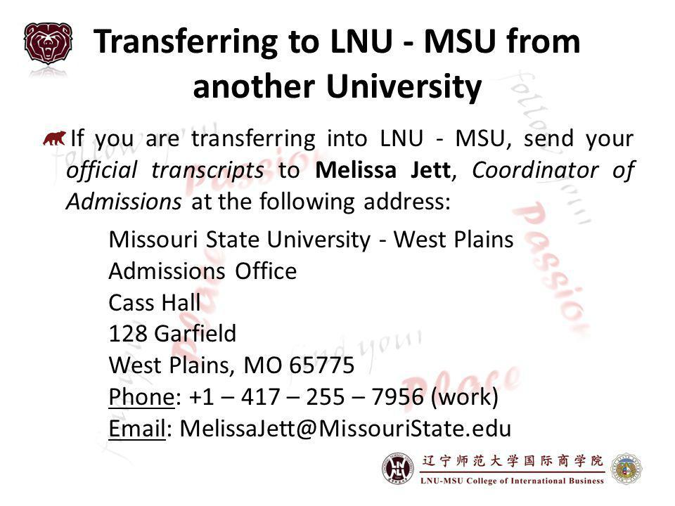 Transferring to LNU - MSU from another University