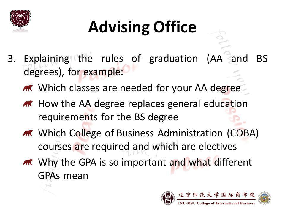 Advising Office Explaining the rules of graduation (AA and BS degrees), for example: Which classes are needed for your AA degree.