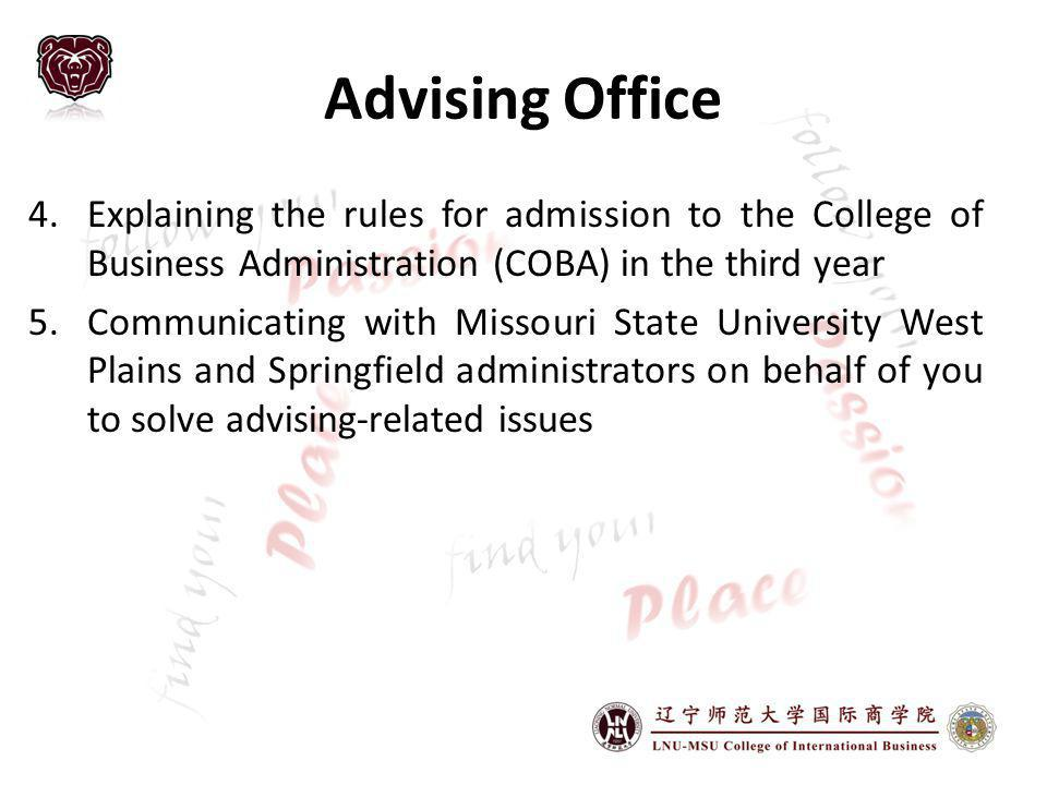 Advising Office Explaining the rules for admission to the College of Business Administration (COBA) in the third year.