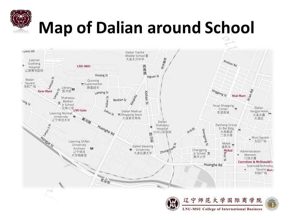 Map of Dalian around School