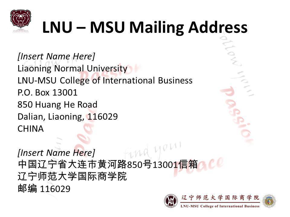 LNU – MSU Mailing Address