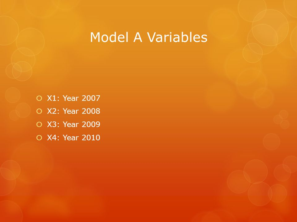 Model A Variables X1: Year 2007 X2: Year 2008 X3: Year 2009