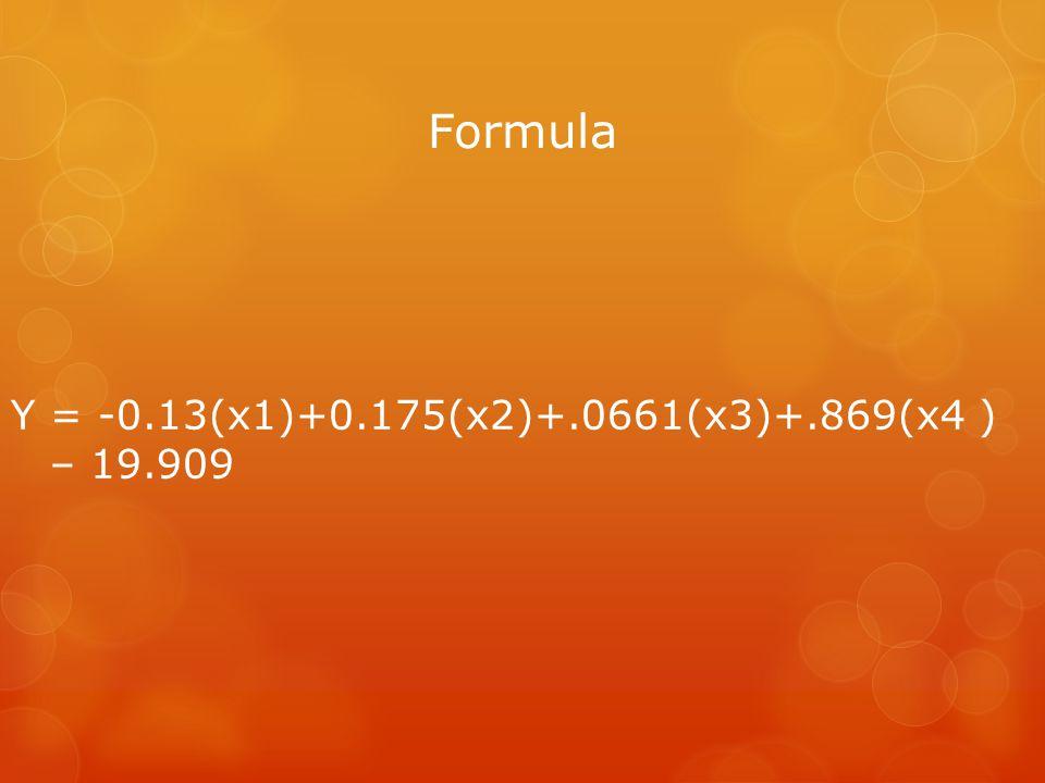 Formula Y = -0.13(x1)+0.175(x2)+.0661(x3)+.869(x4 ) – 19.909
