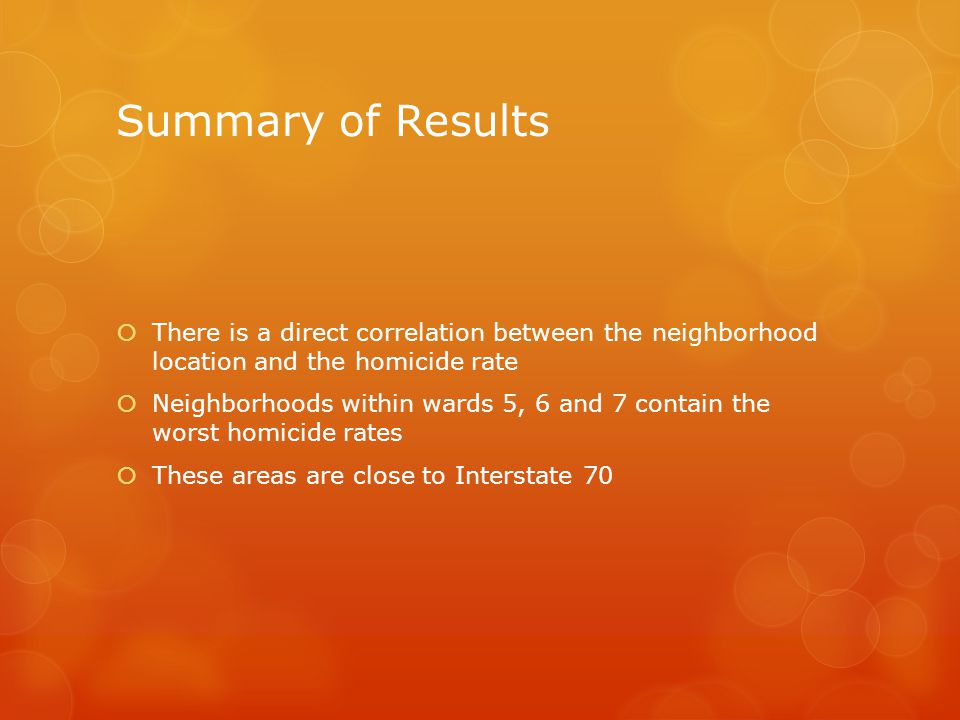 Summary of Results There is a direct correlation between the neighborhood location and the homicide rate.