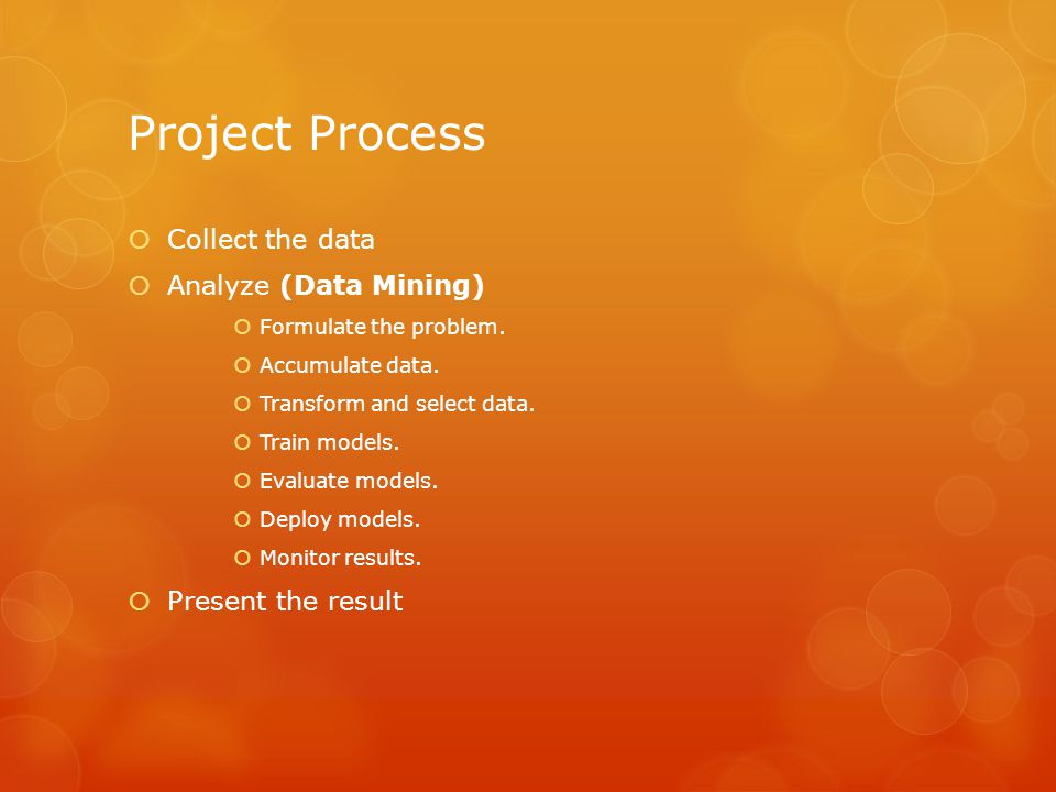 Project Process Collect the data Analyze (Data Mining)