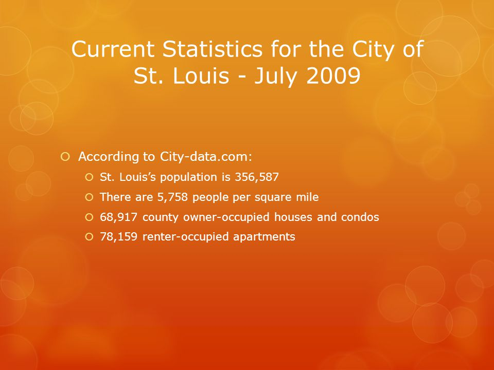 Current Statistics for the City of St. Louis - July 2009