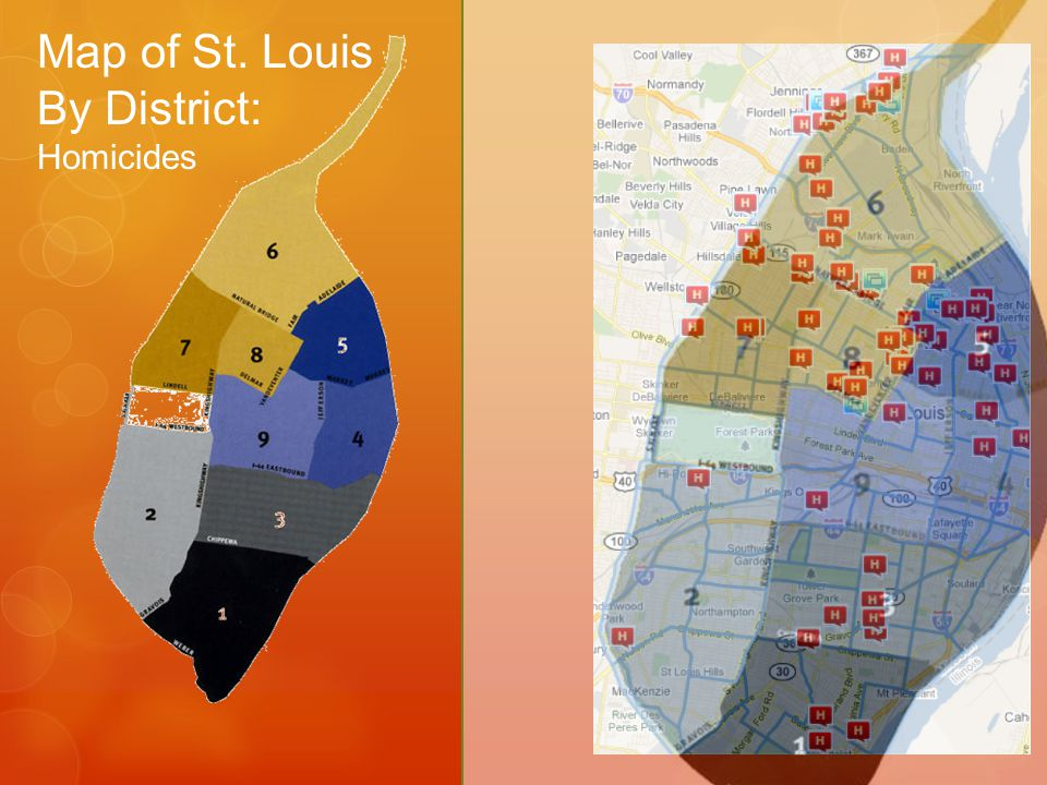 Map of St. Louis By District:
