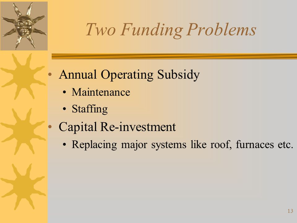 Two Funding Problems Annual Operating Subsidy Capital Re-investment