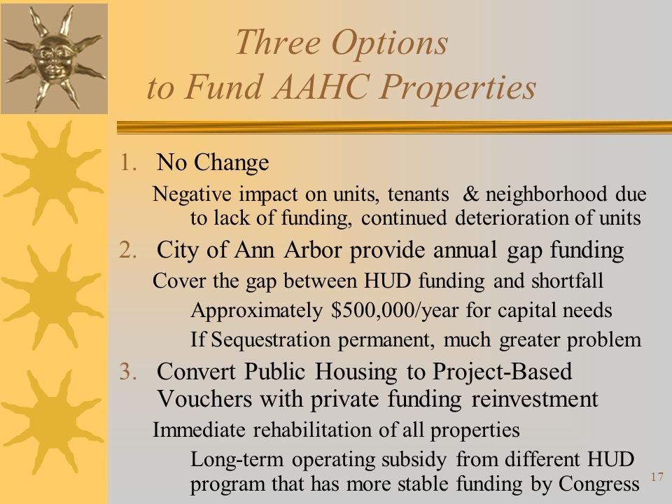 Three Options to Fund AAHC Properties