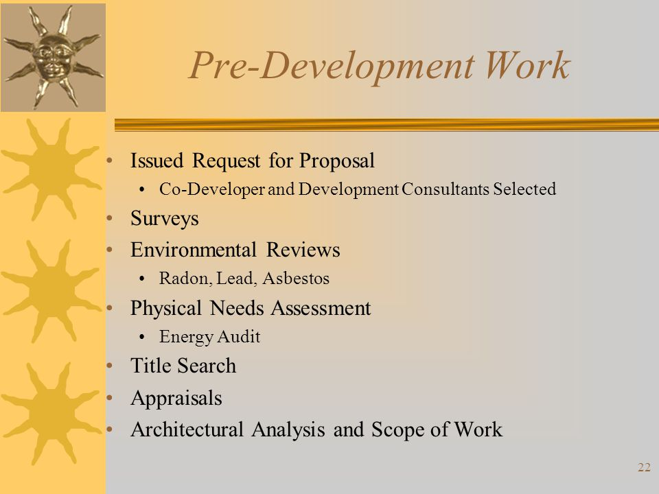 Pre-Development Work Issued Request for Proposal Surveys
