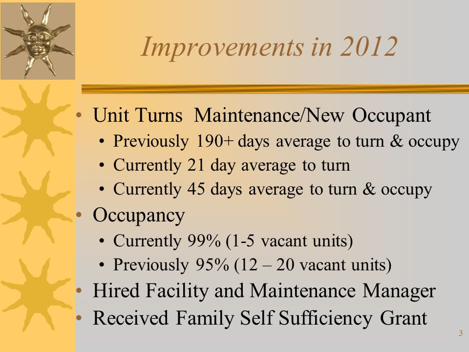 Improvements in 2012 Unit Turns Maintenance/New Occupant Occupancy