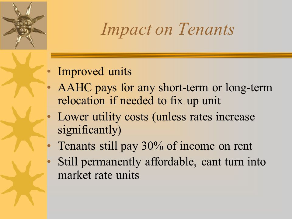 Impact on Tenants Improved units