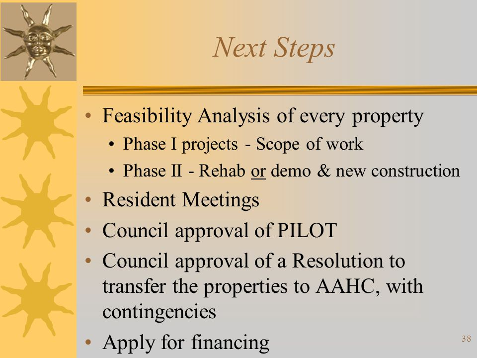 Next Steps Feasibility Analysis of every property Resident Meetings