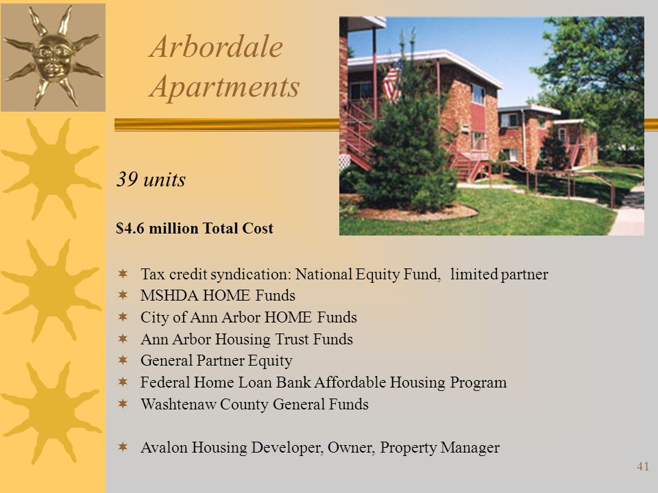Arbordale Apartments 39 units $4.6 million Total Cost