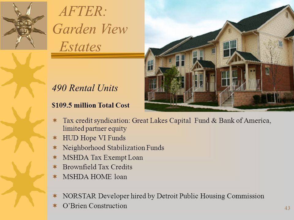 AFTER: Garden View Estates 490 Rental Units $109.5 million Total Cost