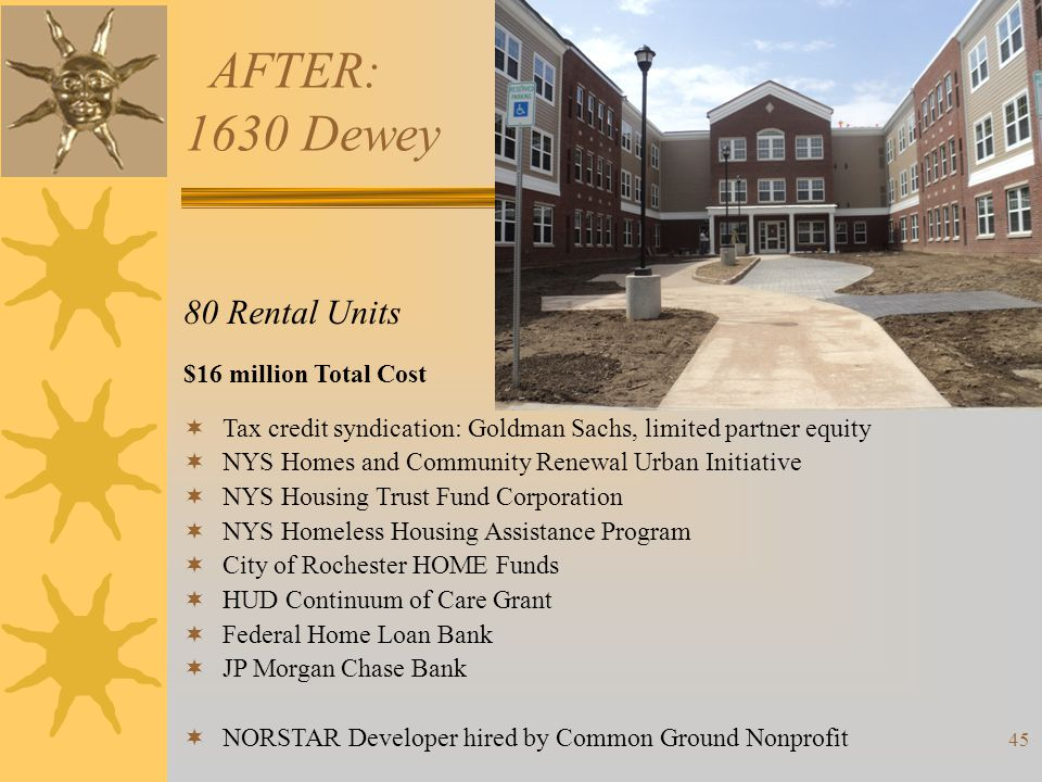 AFTER: 1630 Dewey 80 Rental Units $16 million Total Cost