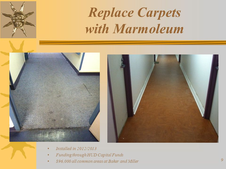 Replace Carpets with Marmoleum